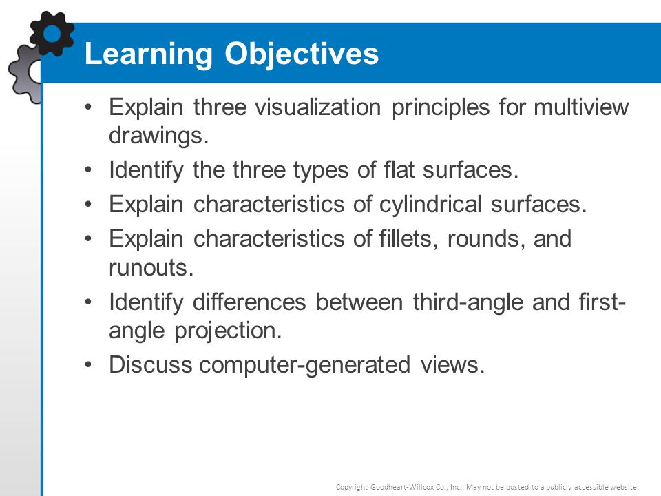 Learning Objectives Explain three visualization principles for multiview drawings. Identify the three types of flat surfaces.
