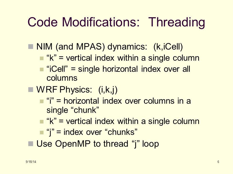 Code Modifications: Threading