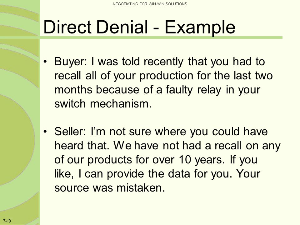 Direct Denial - Example
