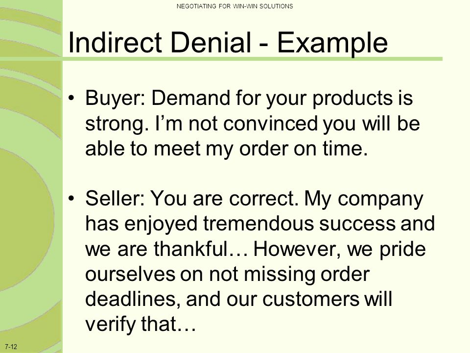Indirect Denial - Example