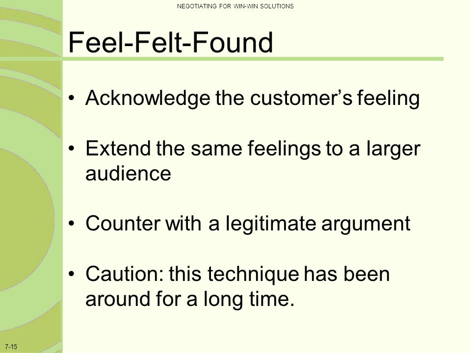 Feel-Felt-Found Acknowledge the customer's feeling