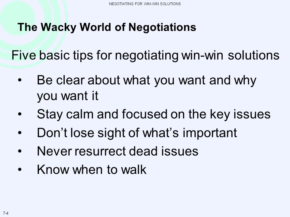 The Wacky World of Negotiations