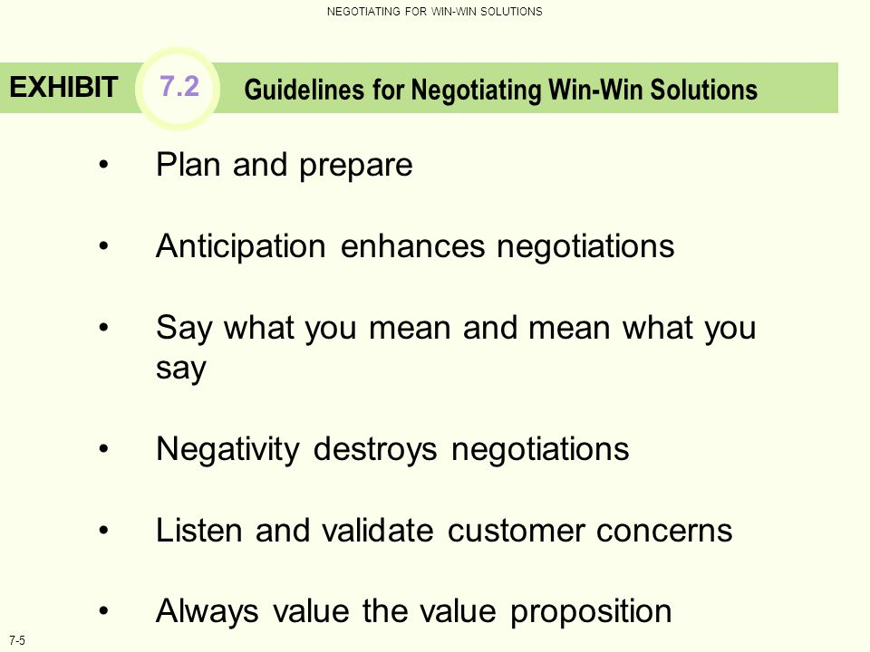 Guidelines for Negotiating Win-Win Solutions