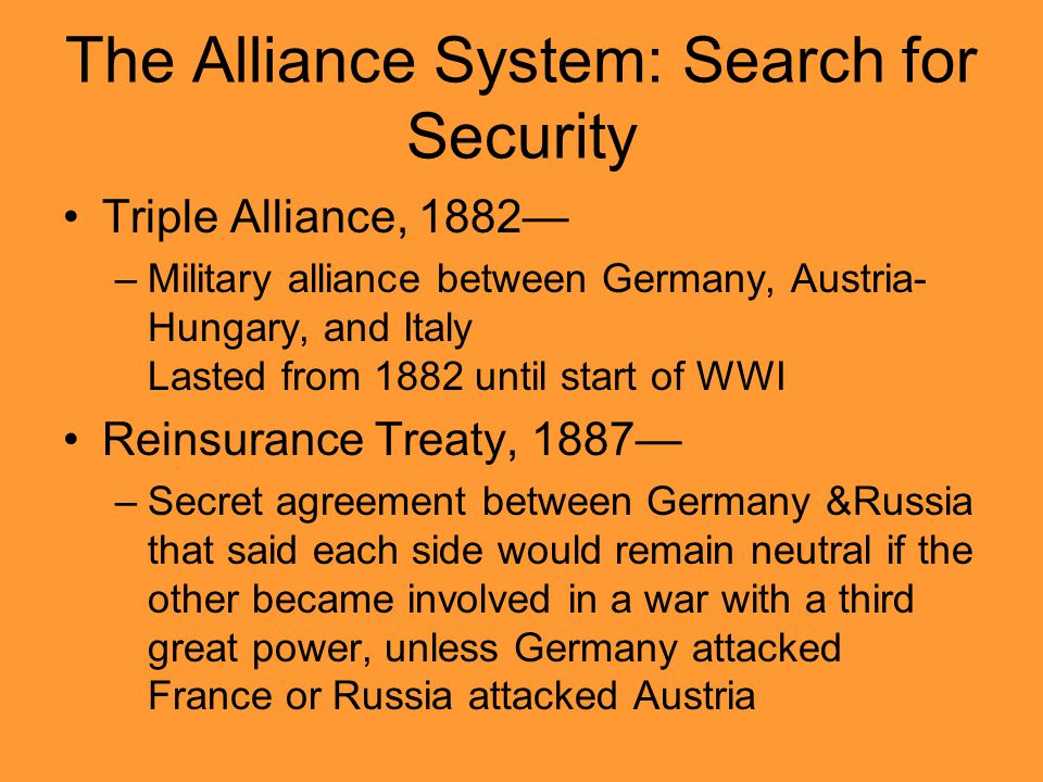 The Alliance System: Search for Security