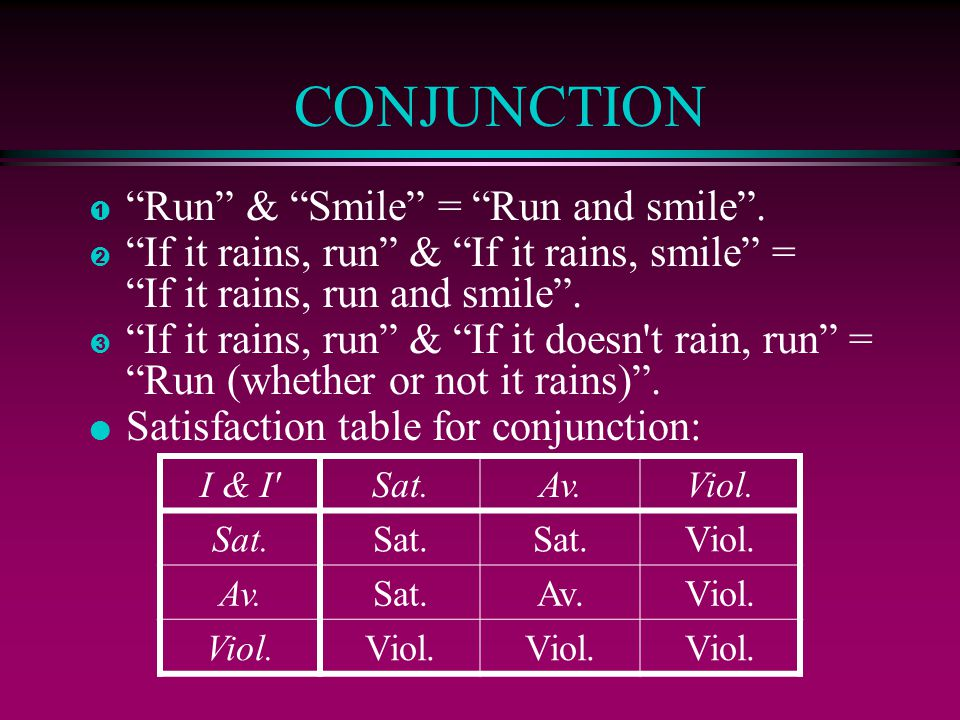 CONJUNCTION Run & Smile = Run and smile .