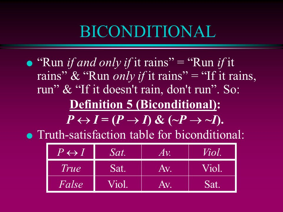 Definition 5 (Biconditional):