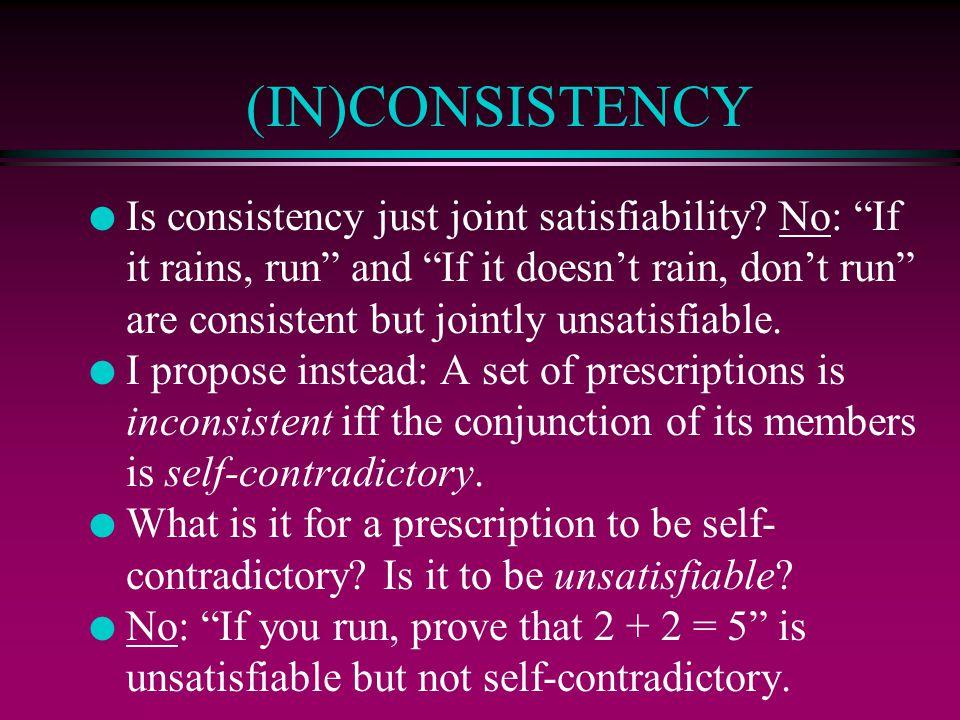 (IN)CONSISTENCY