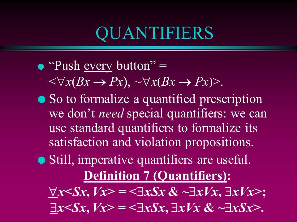 QUANTIFIERS Push every button = <x(Bx  Px), ~x(Bx  Px)>.