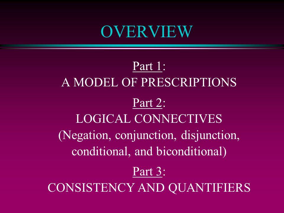 OVERVIEW Part 1: A MODEL OF PRESCRIPTIONS Part 2: LOGICAL CONNECTIVES