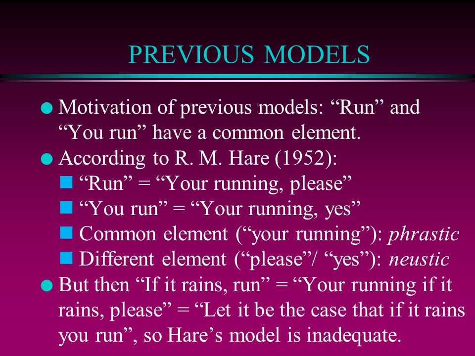 PREVIOUS MODELS Motivation of previous models: Run and You run have a common element. According to R. M. Hare (1952):