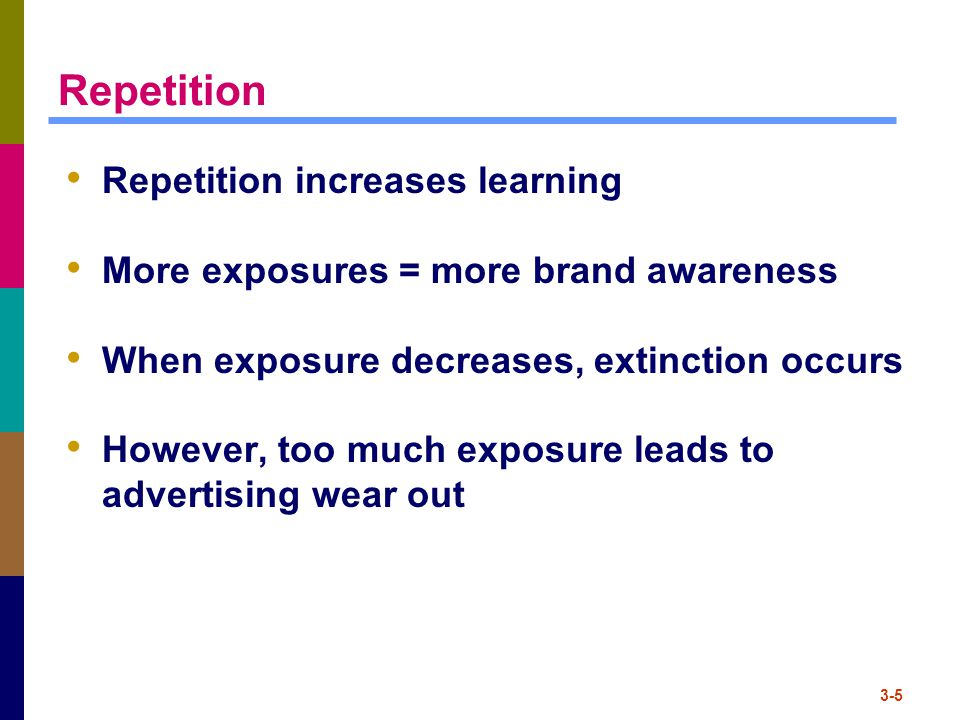 Repetition Repetition increases learning
