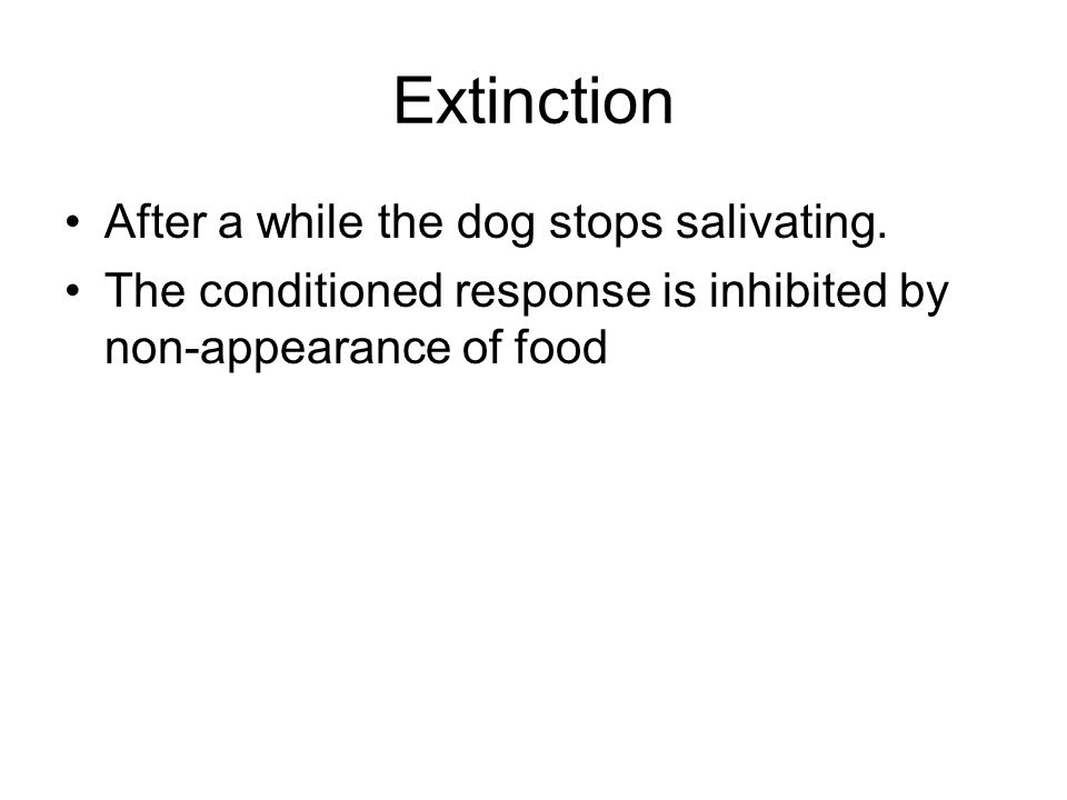 Extinction After a while the dog stops salivating.