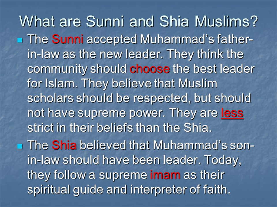 What are Sunni and Shia Muslims