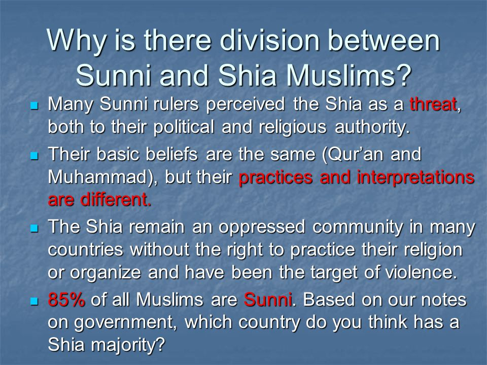 Why is there division between Sunni and Shia Muslims