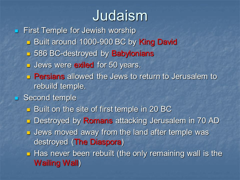Judaism First Temple for Jewish worship