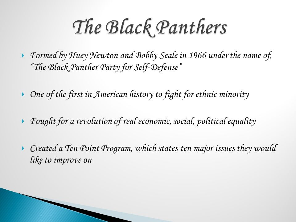 The Black Panthers Formed by Huey Newton and Bobby Seale in 1966 under the name of, The Black Panther Party for Self-Defense