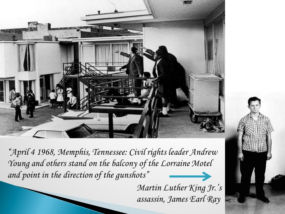 April 4 1968, Memphis, Tennessee: Civil rights leader Andrew Young and others stand on the balcony of the Lorraine Motel and point in the direction of the gunshots