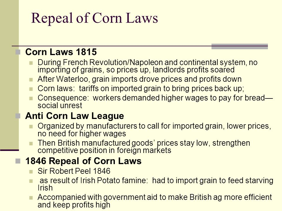 Repeal of Corn Laws Corn Laws 1815 Anti Corn Law League