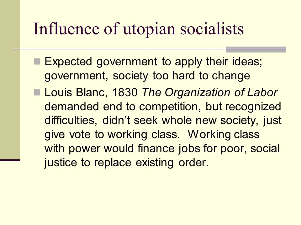 Influence of utopian socialists