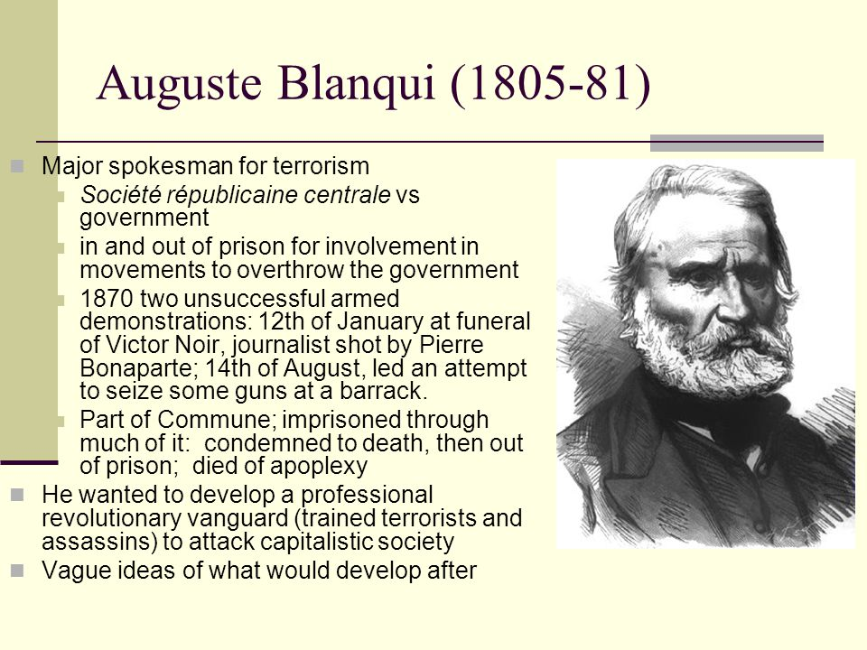 Auguste Blanqui (1805-81) Major spokesman for terrorism