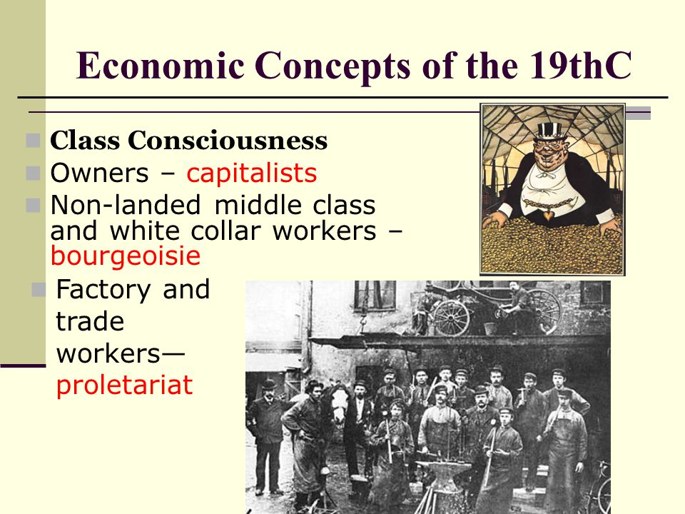 Economic Concepts of the 19thC