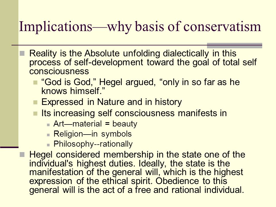 Implications—why basis of conservatism