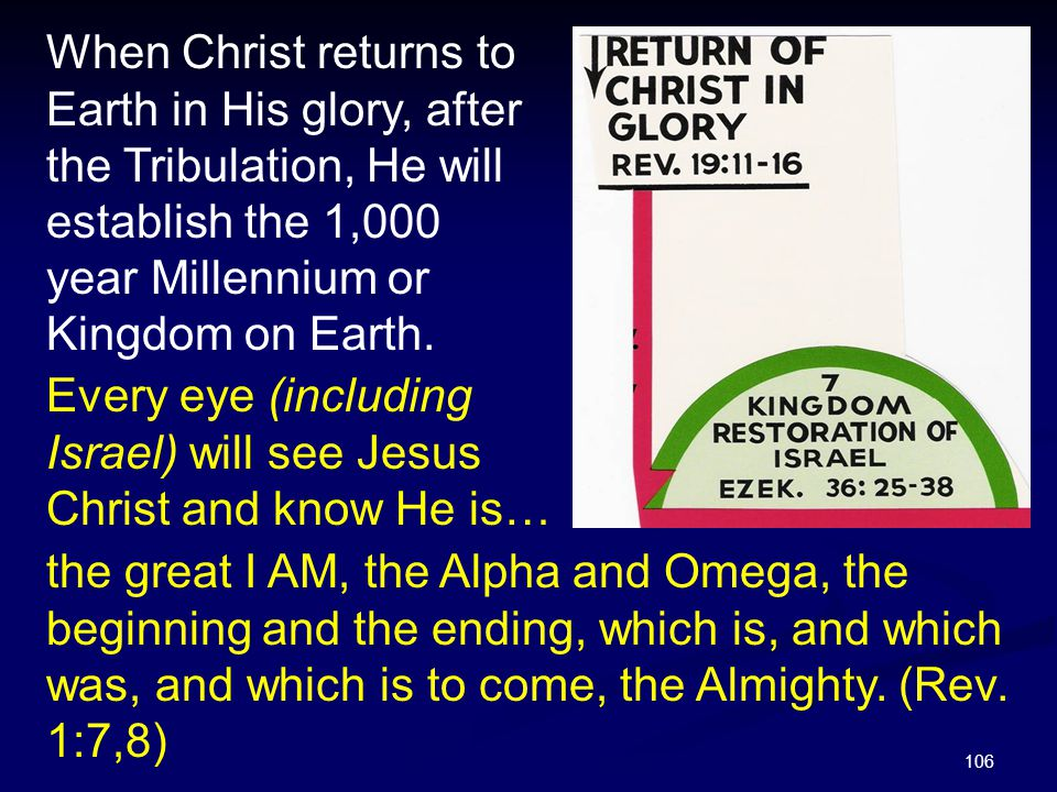 When Christ returns to Earth in His glory, after the Tribulation, He will establish the 1,000 year Millennium or Kingdom on Earth.