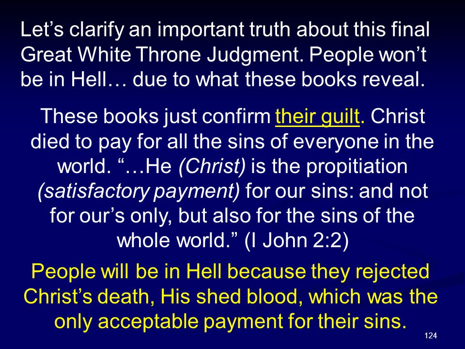 Let's clarify an important truth about this final Great White Throne Judgment. People won't be in Hell… due to what these books reveal.