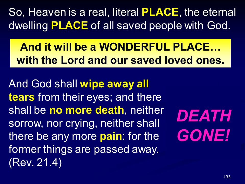 So, Heaven is a real, literal PLACE, the eternal dwelling PLACE of all saved people with God.