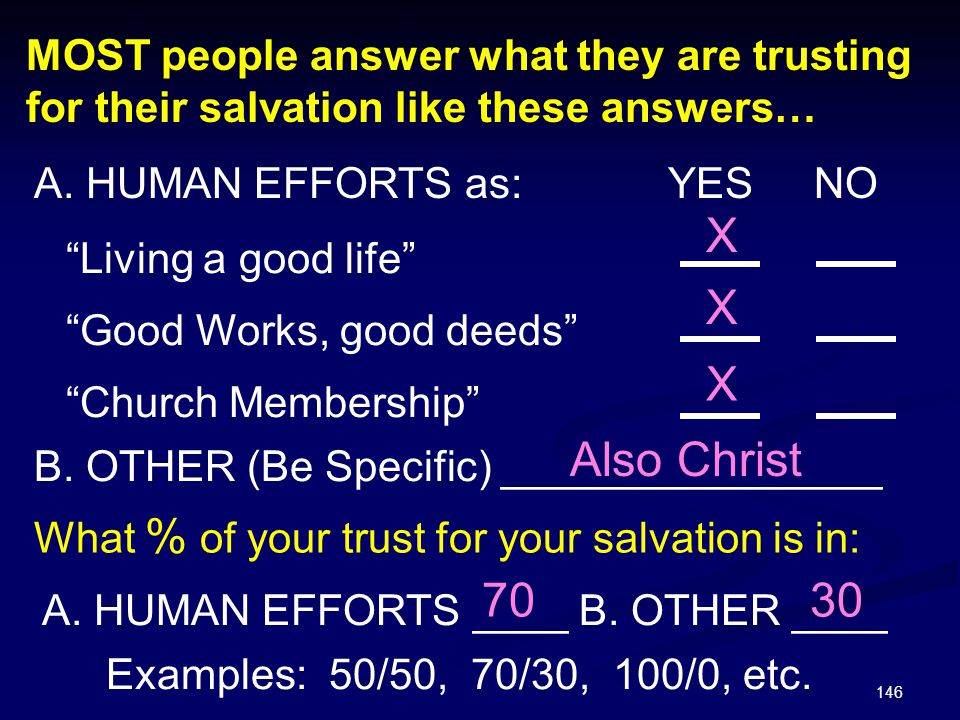 MOST people answer what they are trusting for their salvation like these answers…