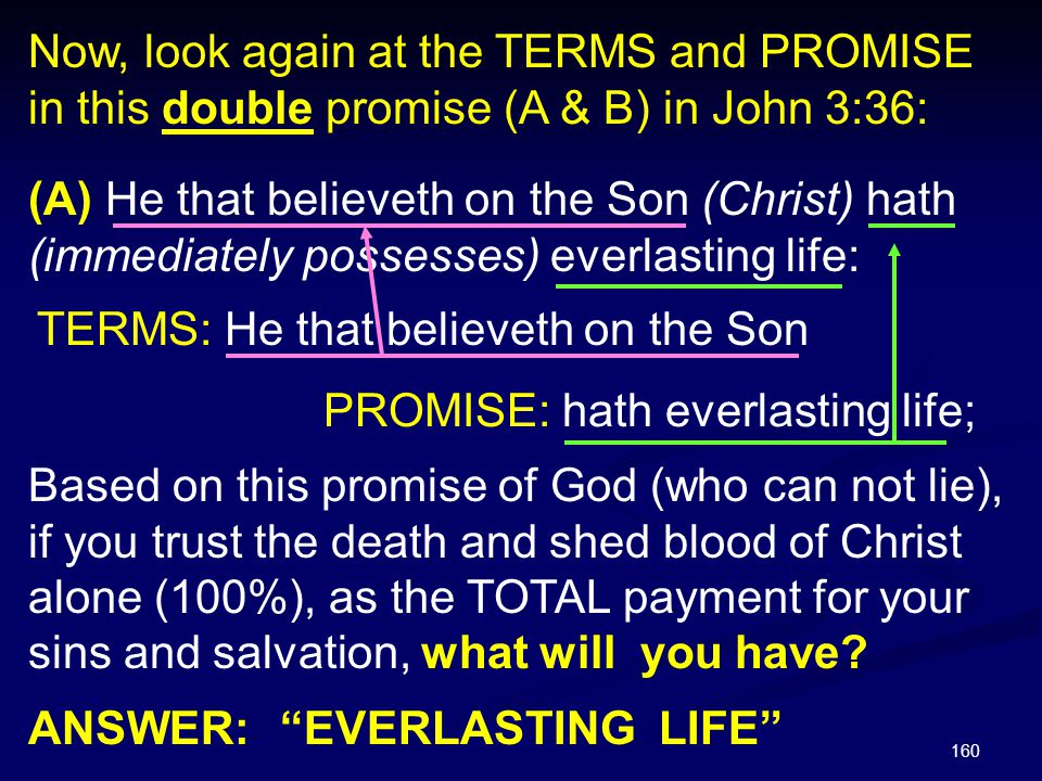 Now, look again at the TERMS and PROMISE in this double promise (A & B) in John 3:36: