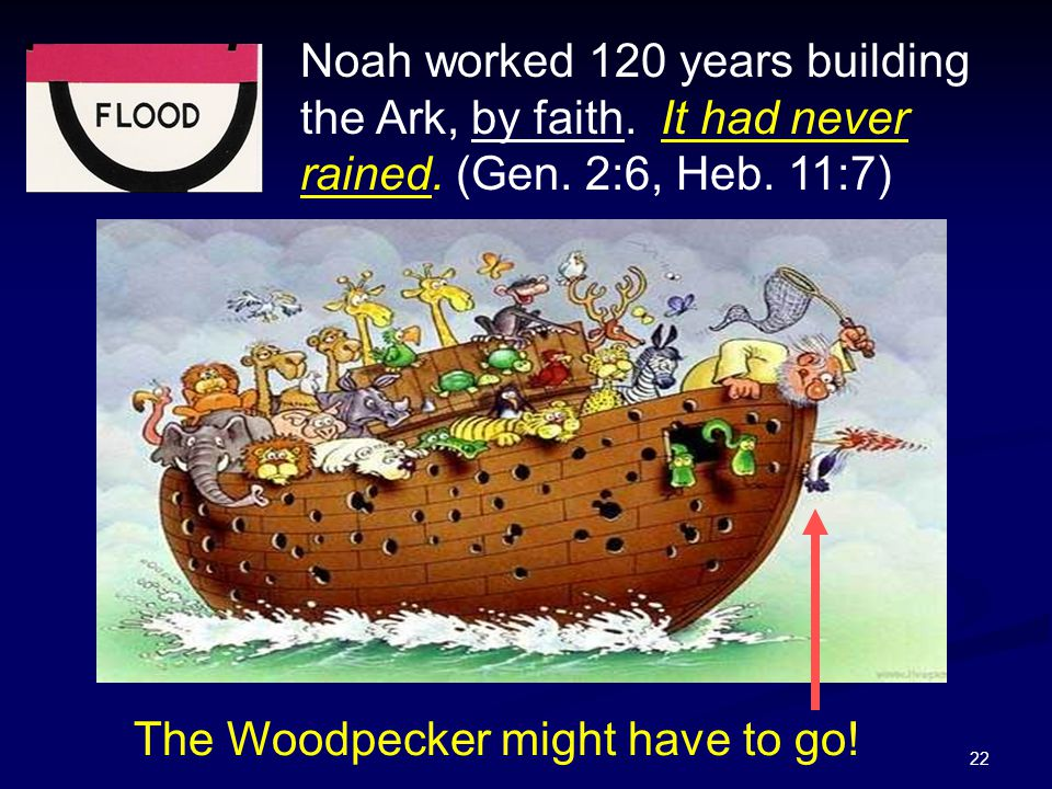 Noah worked 120 years building the Ark, by faith. It had never rained
