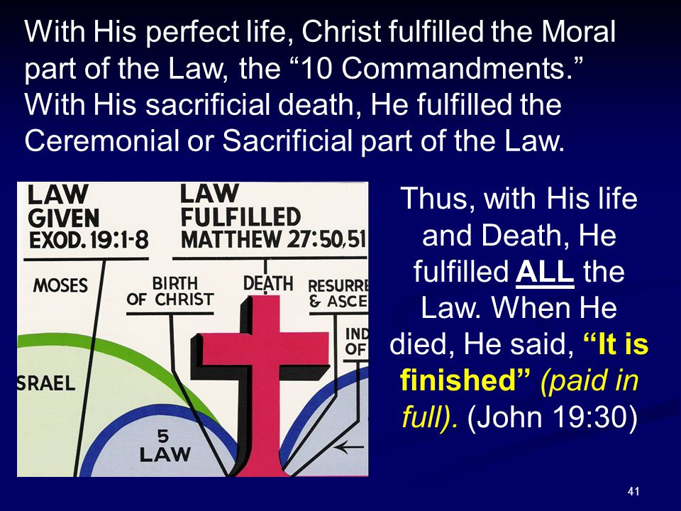 With His perfect life, Christ fulfilled the Moral part of the Law, the 10 Commandments. With His sacrificial death, He fulfilled the Ceremonial or Sacrificial part of the Law.