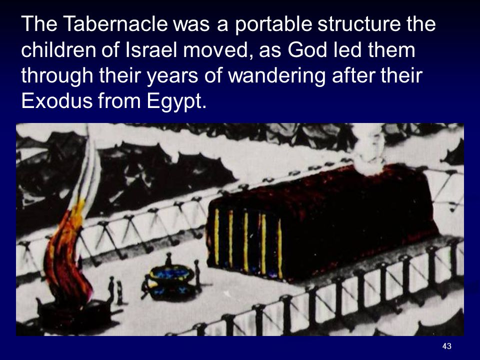 The Tabernacle was a portable structure the children of Israel moved, as God led them through their years of wandering after their Exodus from Egypt.