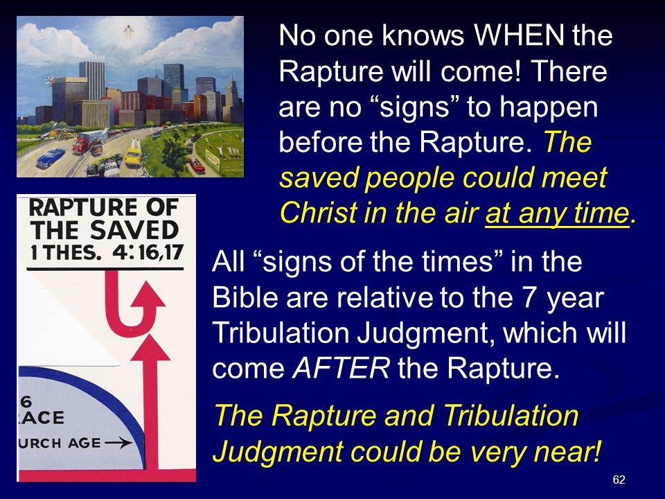 No one knows WHEN the Rapture will come
