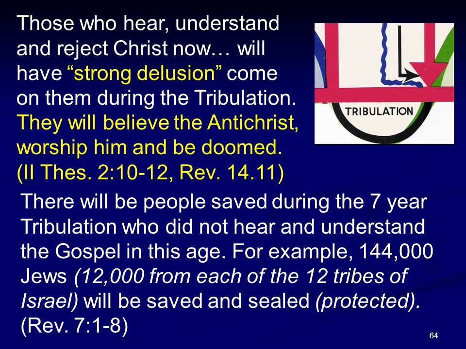 Those who hear, understand and reject Christ now… will have strong delusion come on them during the Tribulation. They will believe the Antichrist, worship him and be doomed. (II Thes. 2:10-12, Rev. 14.11)