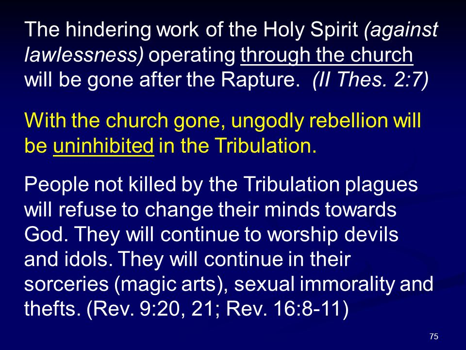 The hindering work of the Holy Spirit (against lawlessness) operating through the church will be gone after the Rapture. (II Thes. 2:7)