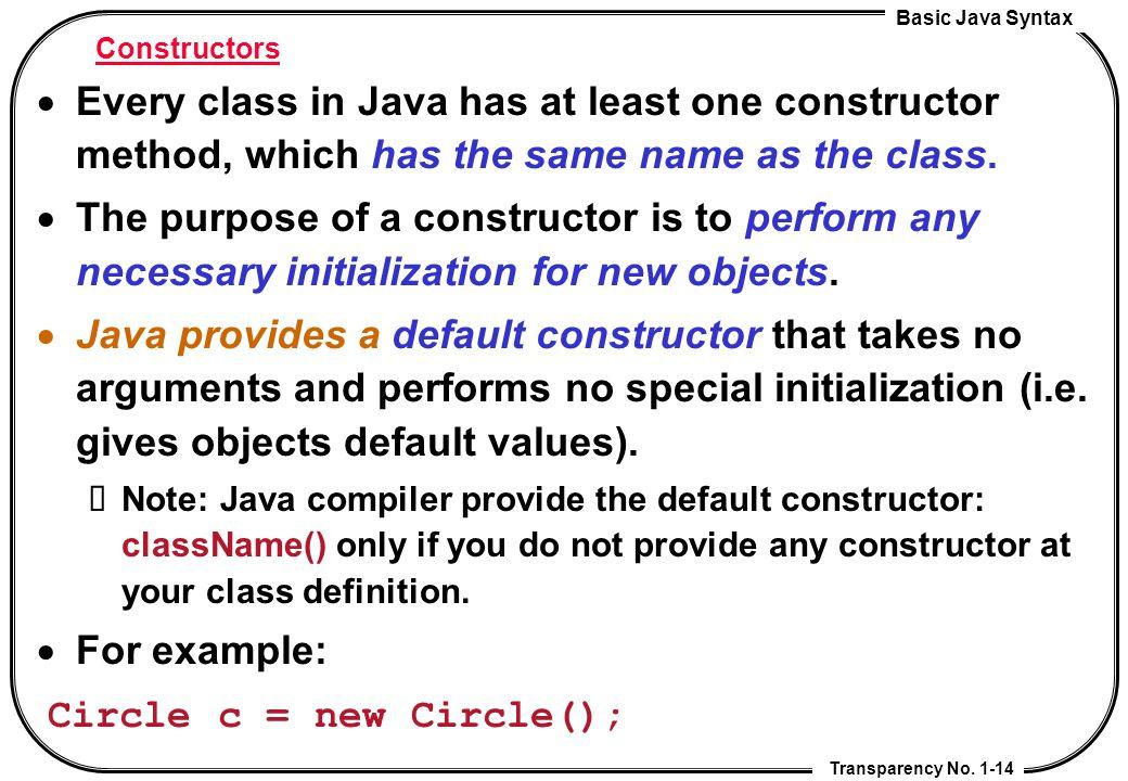 Circle c = new Circle();