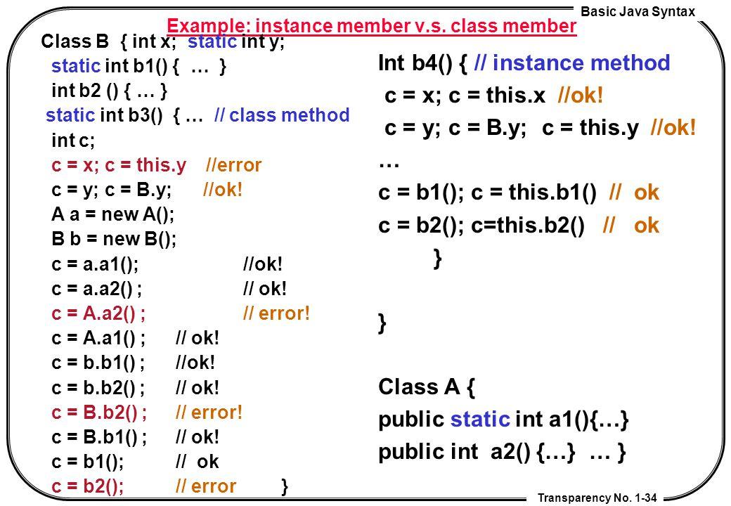 Example: instance member v.s. class member