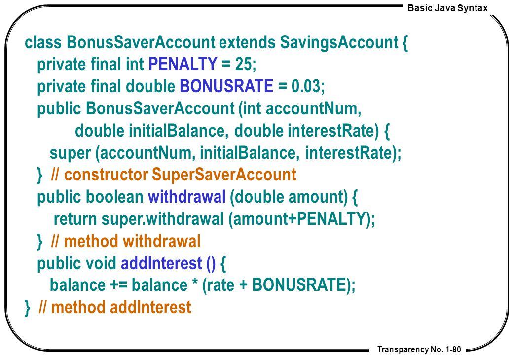 class BonusSaverAccount extends SavingsAccount {