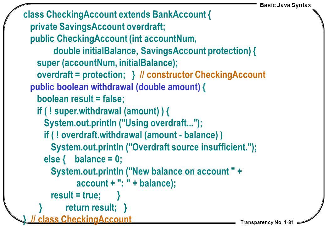 class CheckingAccount extends BankAccount {