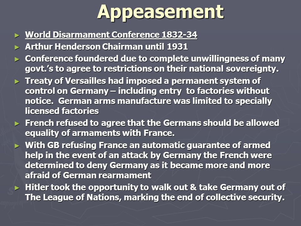 Appeasement World Disarmament Conference 1832-34