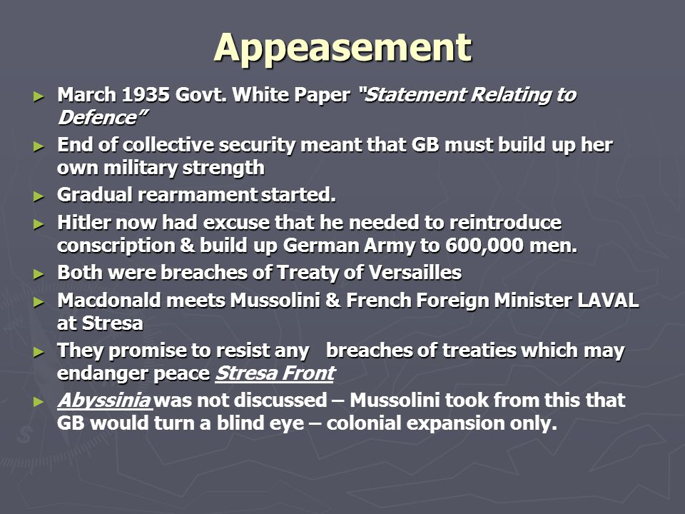 Appeasement March 1935 Govt. White Paper Statement Relating to Defence