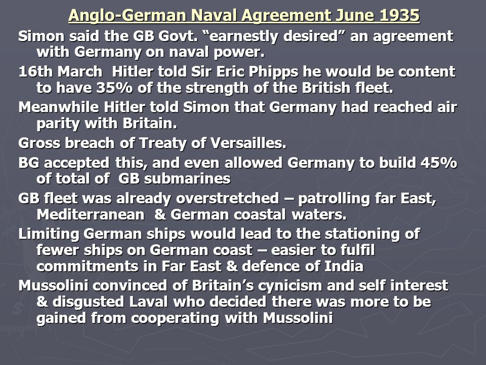 Anglo-German Naval Agreement June 1935