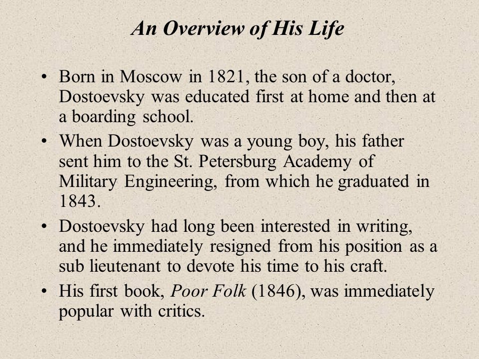 an introduction to the life of fyodor dostoevsky Walker percy, fyodor dostoevsky, and the search for influence examines the relationship between percy and dostoevsky, with wilson tracing the influence of dostoevsky on the writings and life of walker percy the book consists of six chapters with an introduction and conclusion.