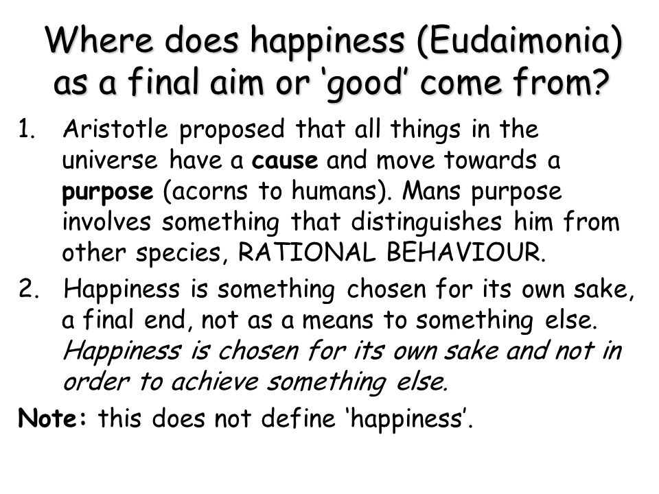 Where does happiness (Eudaimonia) as a final aim or 'good' come from