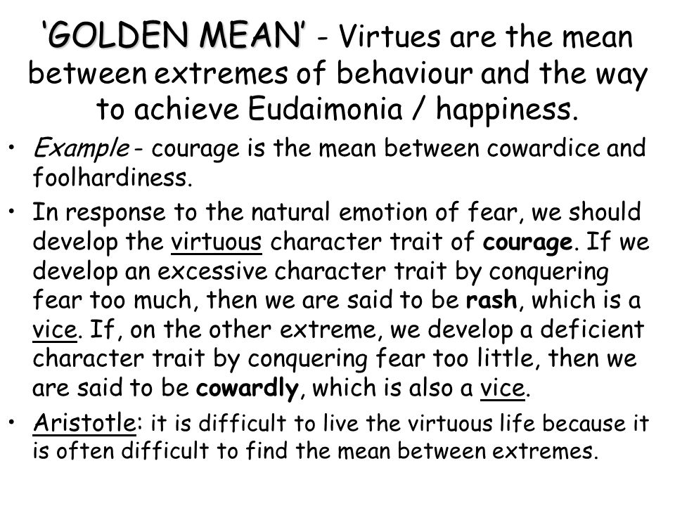 'GOLDEN MEAN' - Virtues are the mean between extremes of behaviour and the way to achieve Eudaimonia / happiness.