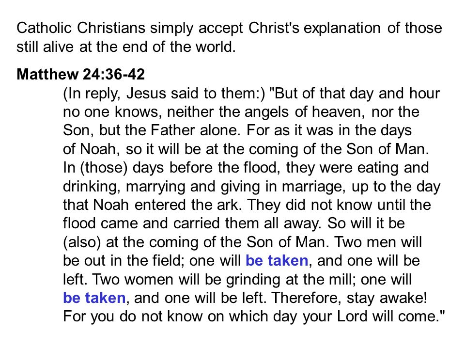 Catholic Christians simply accept Christ s explanation of those