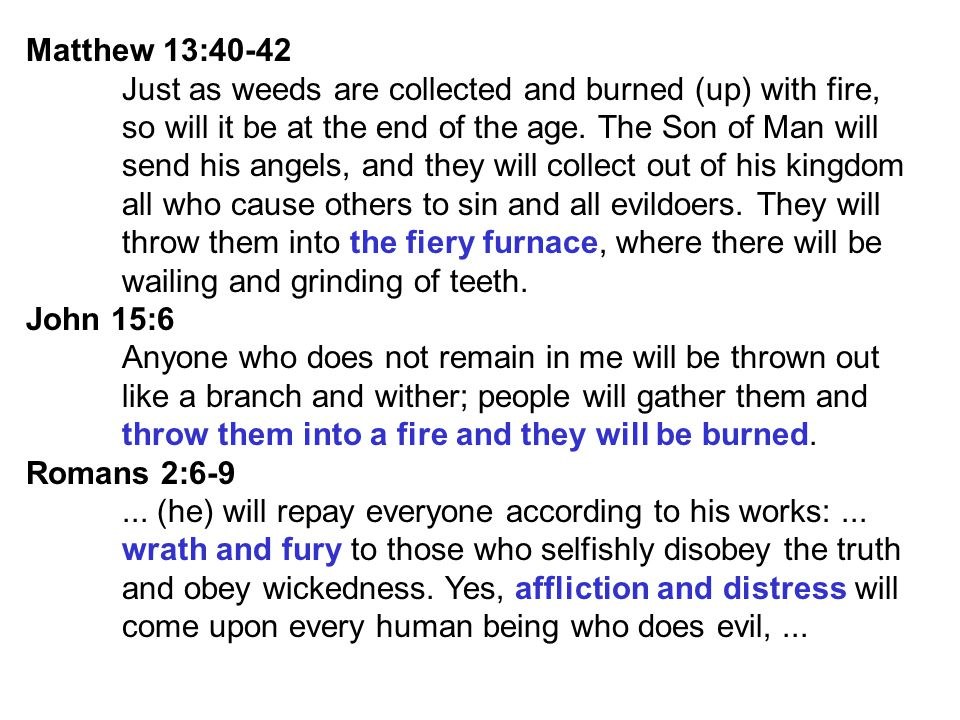 Matthew 13:40-42 Just as weeds are collected and burned (up) with fire, so will it be at the end of the age. The Son of Man will.