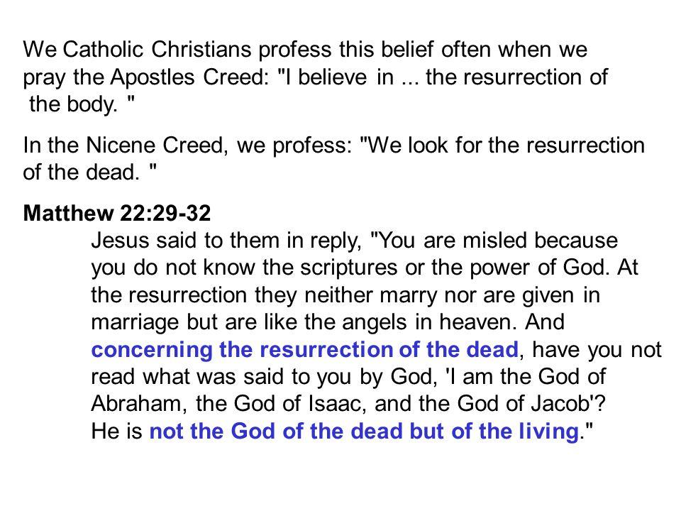 We Catholic Christians profess this belief often when we